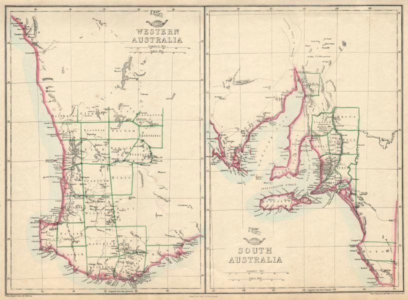 WESTERN & SOUTH AUSTRALIA. Land Divisions. Perth Adelaide. WELLER 1863 old map