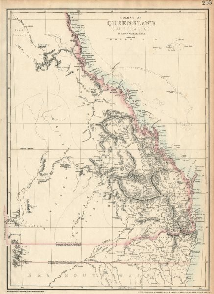 Associate Product 'COLONY OF QUEENSLAND (AUSTRALIA)'. Current & 1850 NSW border. WELLER 1863 map