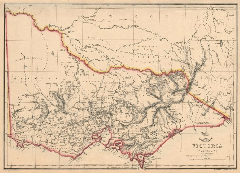 Australia Map Melbourne.Details About Victoria Shows 1st Australian Steam Railway Geelong Melbourne Weller 1863 Map