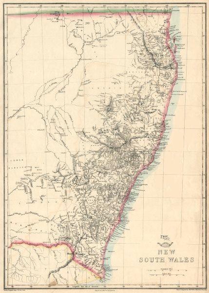 Associate Product 'New South Wales'  & Gold Coast/Brisbane. State map. Australia. WELLER 1863