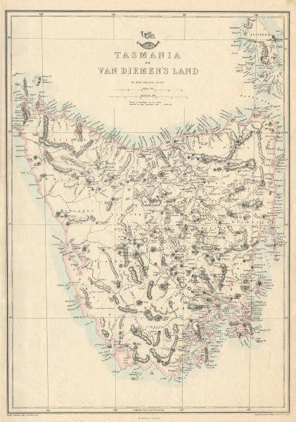Associate Product TASMANIA OR VAN DIEMEN'S LAND. Shows townships not yet settled. WELLER 1863 map