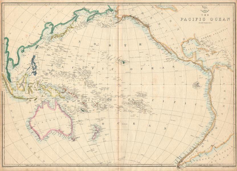 Associate Product PACIFIC OCEAN Sandwich Islands/Hawaii Australia New Zealand &c. WELLER 1863 map