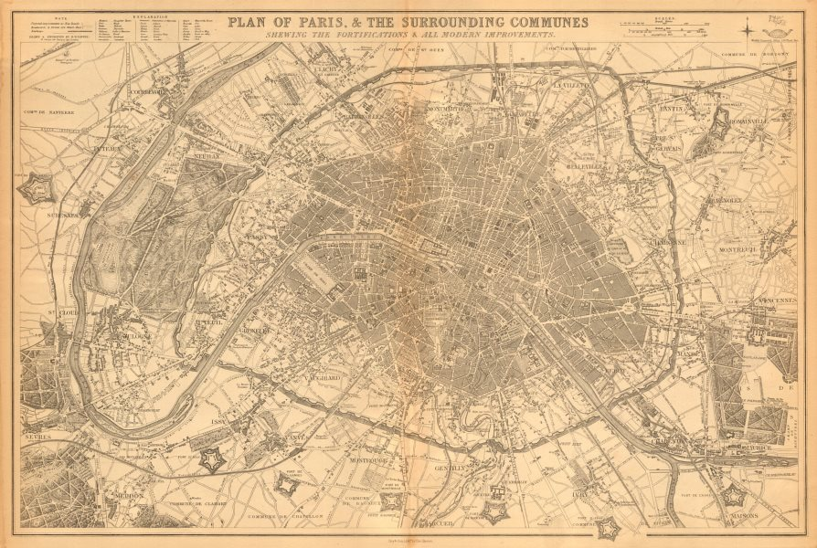 Associate Product PLAN OF PARIS & SURROUNDING COMMUNES. Fortifications.  BR DAVIES 1863 old map