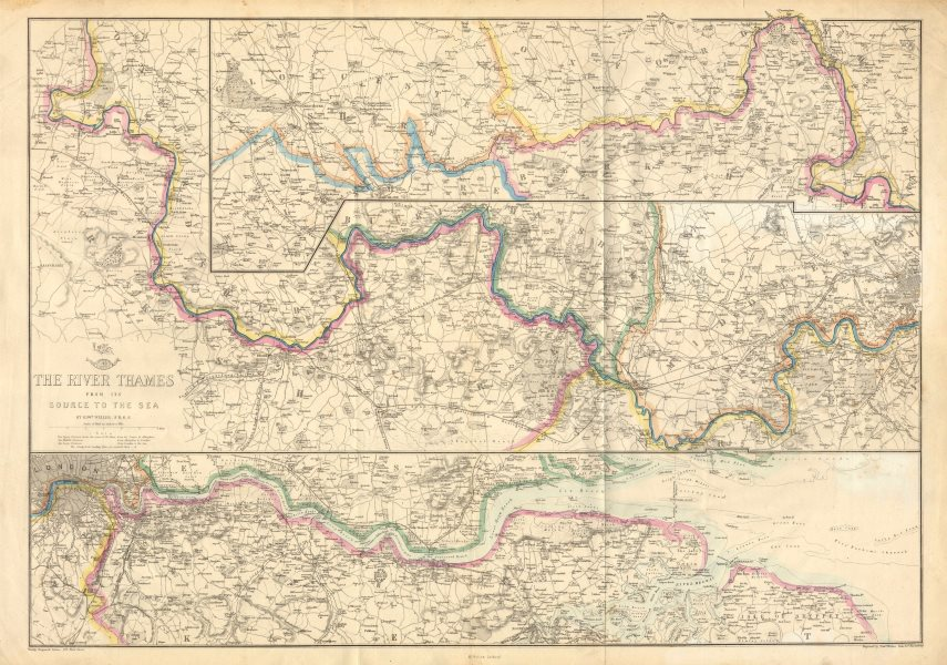 Associate Product 'THE RIVER THAMES FROM ITS SOURCE TO THE SEA'. Thames Valley. WELLER c1863 map