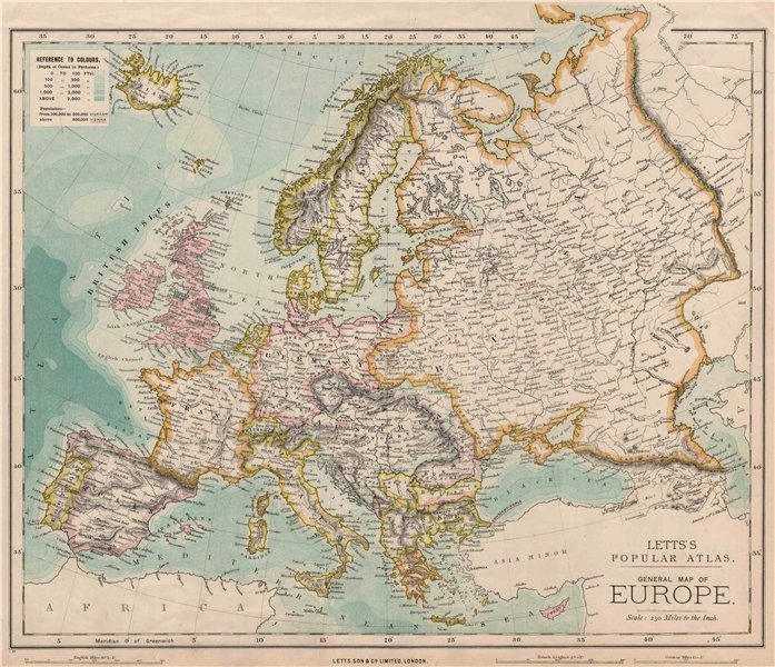 EUROPE Political map. Germany. Austria-Hungary. LETTS 1889 old antique