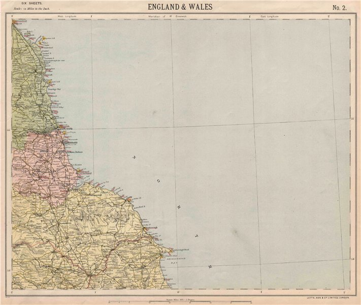 Associate Product NORTH YORKSHIRE, DURHAM & NORTHUMBERLAND COAST. Lighthouses. LETTS 1889 map