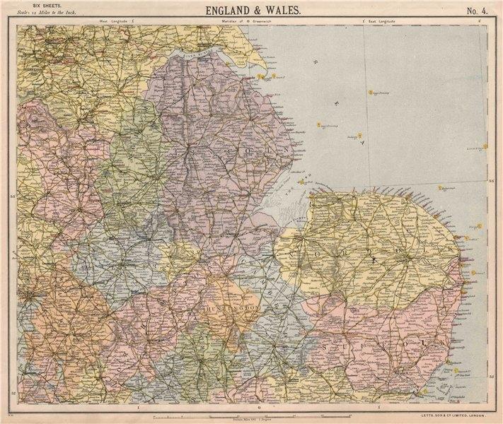 Associate Product ENGLAND EAST. Lighthouses East Midlands East Anglia Lincolnshire. LETTS 1889 map