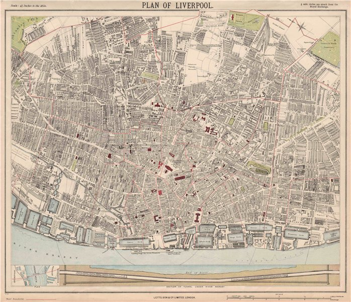 Associate Product LIVERPOOL town city map. Mersey Tunnel section. Ward boundaries.LETTS 1889