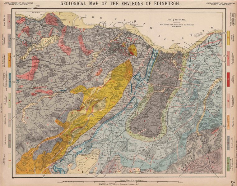 Associate Product Geological map of the Environs of Edinburgh. Scotland. LETTS 1889 old