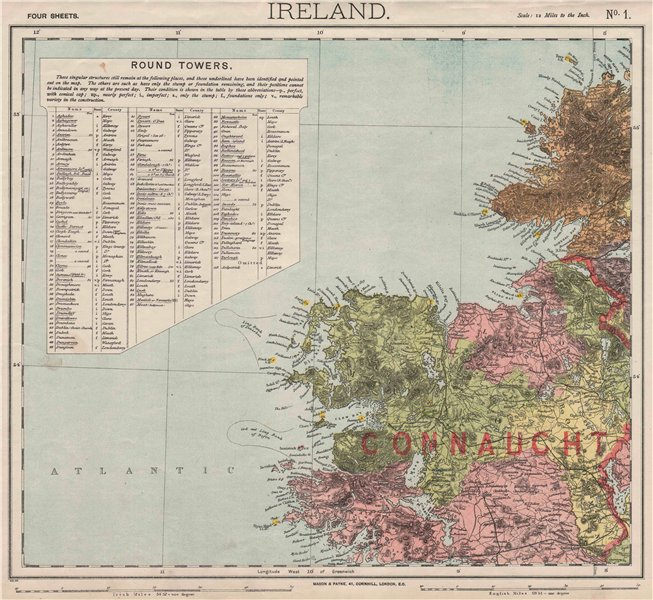 Associate Product NW IRELAND. Lighthouses. Cod & Ling fishing banks. Connaught. LETTS 1889 map