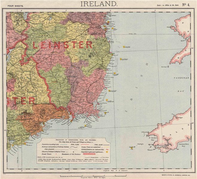 Associate Product SE IRELAND LEINSTER. Lighthouses Lifeboat stations Round towers. LETTS 1889 map
