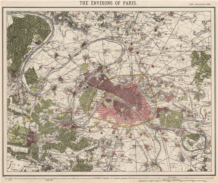 Associate Product PARIS ENVIRONS. Fortifications. Railways. Versailles. LETTS 1889 old map