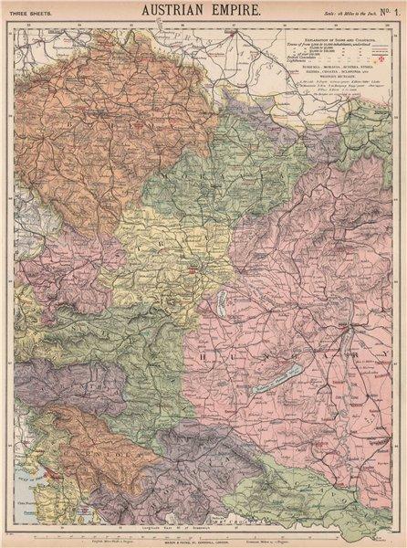 Associate Product AUSTRIAN EMPIRE. Bohemia Moravia Styria Illyria Croatia Hungary. LETTS 1889 map