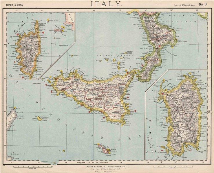 Associate Product SICILY CALABRIA CORSICA SARDINIA. British Consuls. Lighthouses. LETTS 1889 map