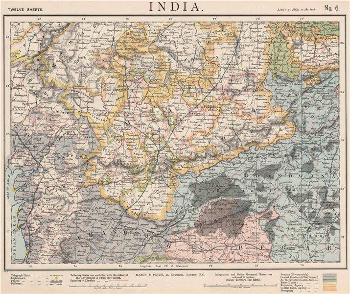 Associate Product WEST BRITISH INDIA. Malwa Khandeish Berar Goondwana Bhopal. Railways 1889 map
