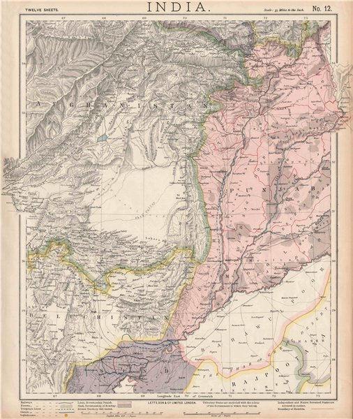 Associate Product PAKISTAN & AFGHANISTAN. Punjab Beluchistan Sinde. British India. LETTS 1889 map