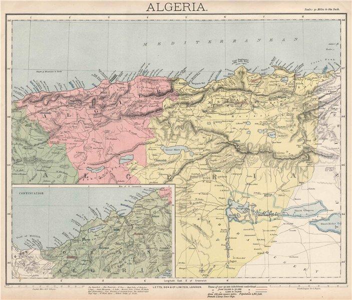 Associate Product ALGERIA. North Africa. Algier Algiers Oran Constantine. LETTS 1889 old map