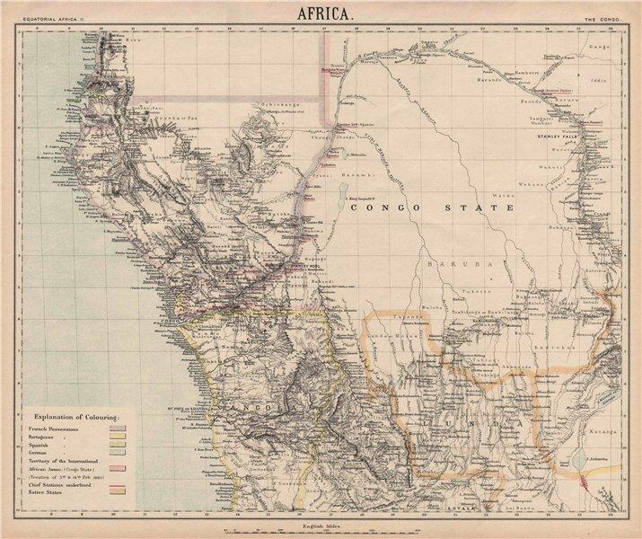 Associate Product CENTRAL AFRICA. International African Association (Congo) Gabon Angola 1889 map