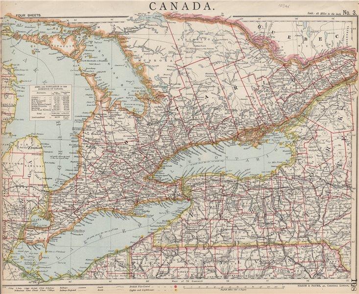 Associate Product GREAT LAKES. Lake Huron, Erie & Ontario Lighthouses. Railways. LETTS 1889 map