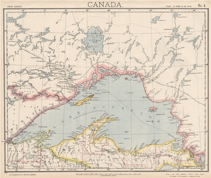Details about LAKE SUPERIOR. Canada Ontario Michigan. Lighthouses &  Railroads. LETTS 1889 map