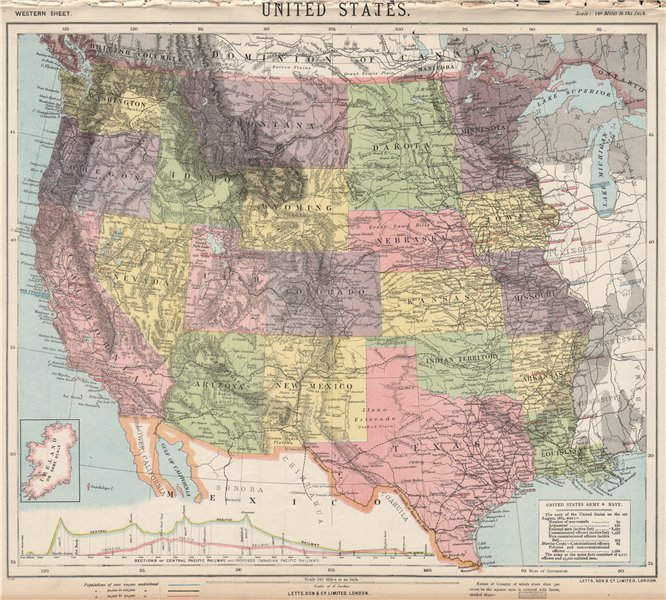 Associate Product WESTERN USA. Central & Canadian Pacific Railroad section. LETTS 1889 old map