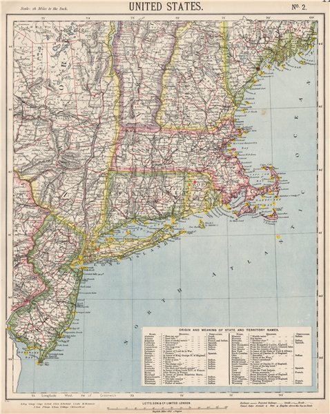 Associate Product NEW ENGLAND COAST. NY Maine Massachusetts Connecticut NJ NH RI VT.LETTS 1889 map