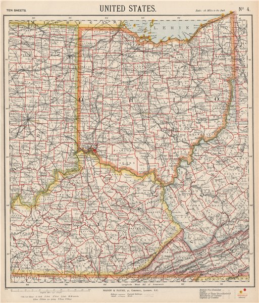 Associate Product USA. Ohio with parts of Kentucky, Virginia & Indiana. Railroads. LETTS 1889 map