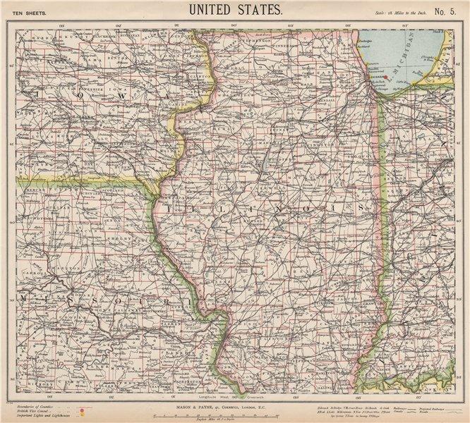 Associate Product US MIDWEST. Missouri Illinois Indiana Iowa Chicago. Railroads. LETTS 1889 map