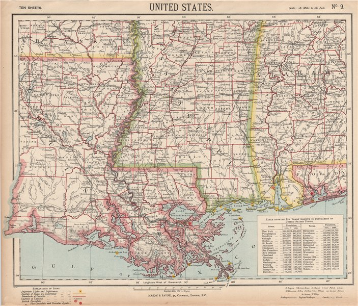 Associate Product US GULF COAST Louisiana Mississippi Alabama Railroads Lighthouses LETTS 1889 map