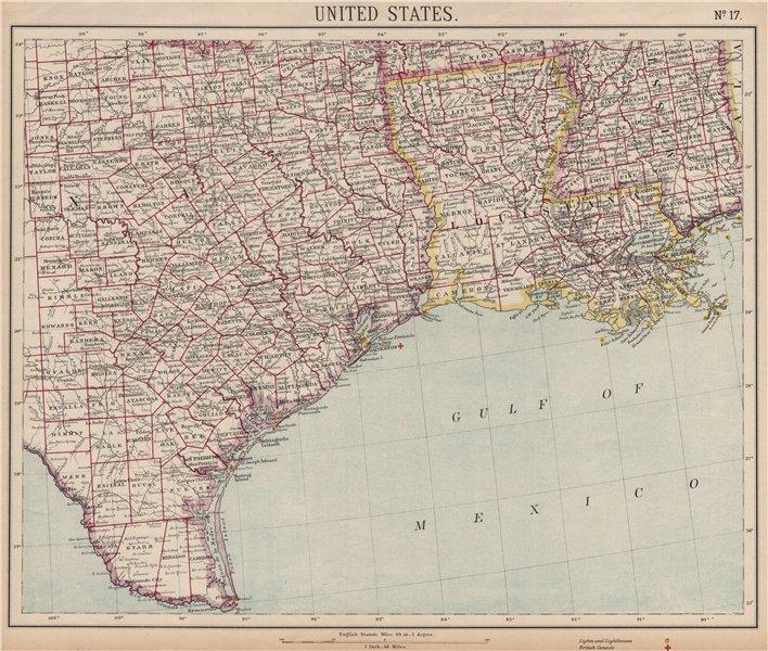 Associate Product US GULF COAST. Texas Louisiana Mississippi. Lighthouses Consuls. LETTS 1889 map