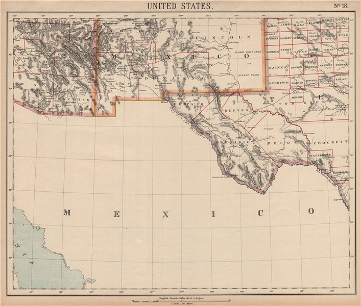 Details about SOUTHERN ARIZONA NEW MEXICO. El Paso Tucson Las Cruces  Railroads. LETTS 1889 map