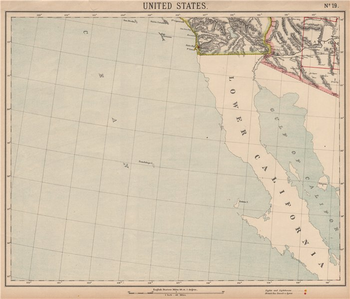 Details about Baja & SOUTHERN CALIFORNIA & ARIZONA. San Diego & Phoenix.  LETTS 1889 old map