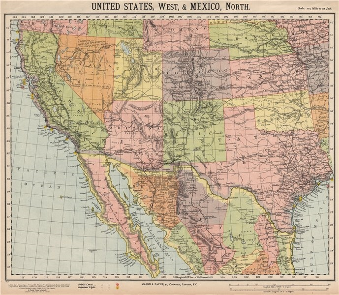 Associate Product SOUTH WESTERN USA & N Mexico. Railroads & Lighthouses. LETTS 1889 old map