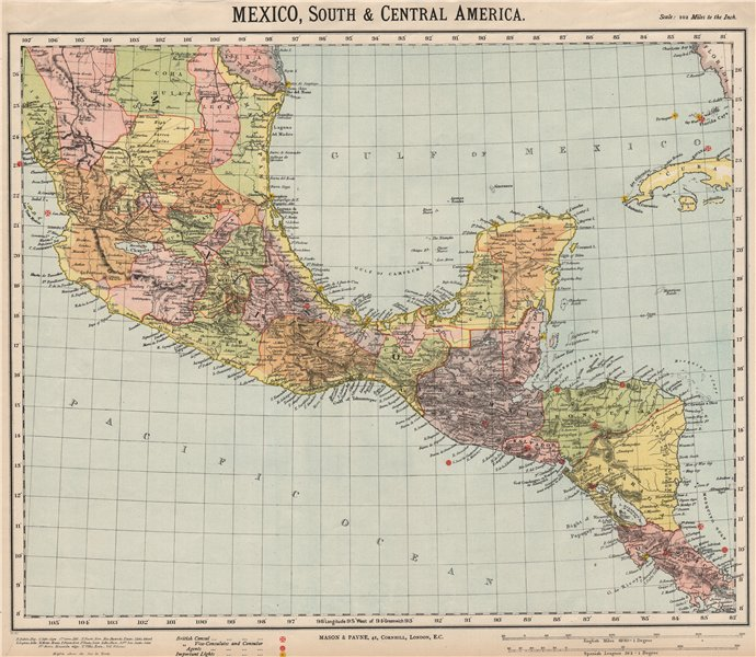 Associate Product SOUTHERN MEXICO & CENTRAL AMERICA. Lighthouses. Key West Yucatan. LETTS 1889 map
