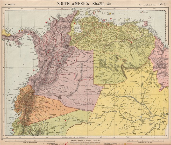 Associate Product AMAZONIA & ANDEAN STATES. Colombia before separation of Panama. LETTS 1889 map