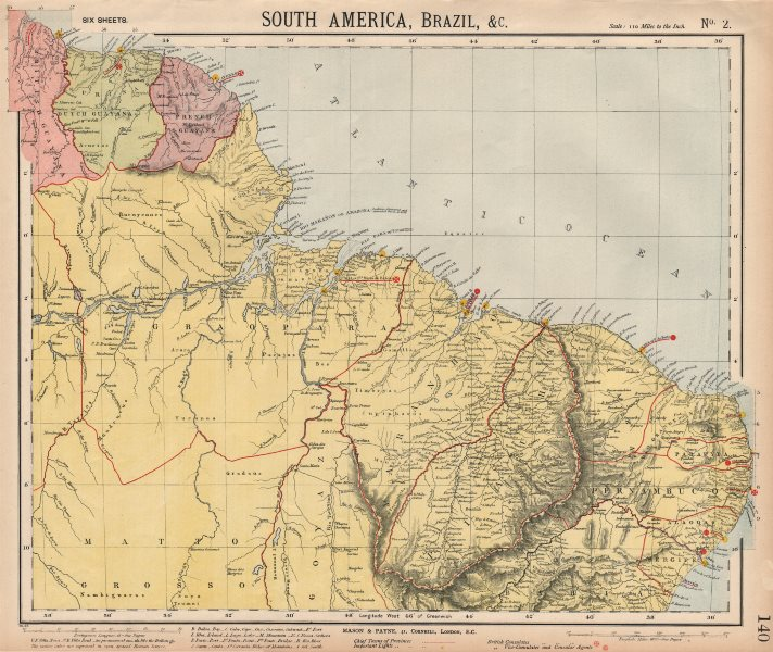 Associate Product NORTH BRAZIL & GUYANAS. Lighthouses. Graopara Surinam Natal. LETTS 1889 map
