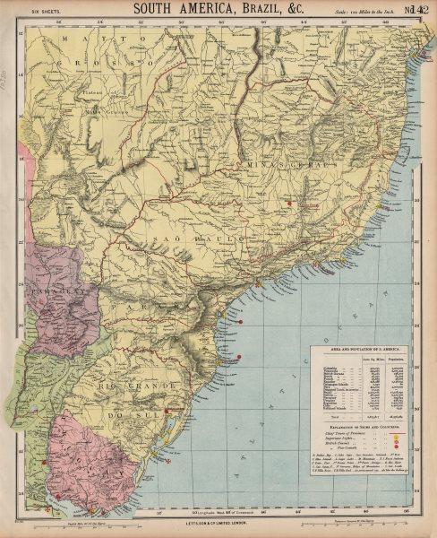 Associate Product SOUTH BRAZIL URUGUAY. Lighthouses. Bahia Minas Gerais Sao Paolo. LETTS 1889 map