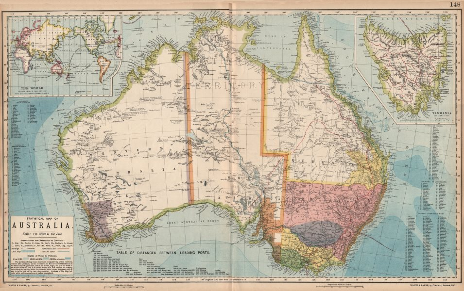 Associate Product AUSTRALIA. White=unexplored. Violet & green=best sheep country. LETTS 1889 map