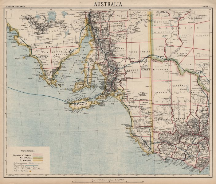 Associate Product SOUTH AUSTRALIA Victoria NSW. Adelaide. Railways. Wine country. LETTS 1889 map