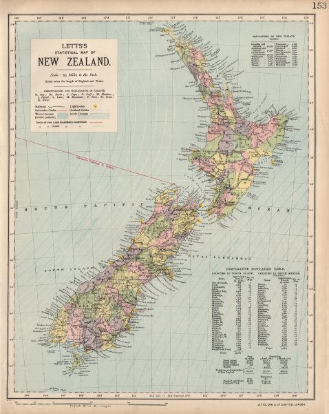 Associate Product NEW ZEALAND Lighthouses railways telegraph cables ocean currents. LETTS 1889 map