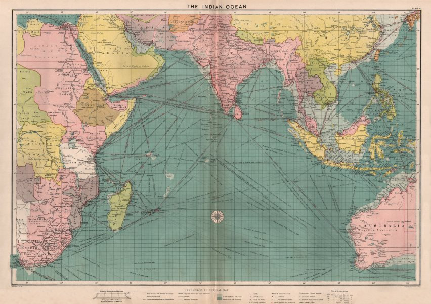 Indian Ocean sea chart. Ports lighthouses mail routes dockyards. LARGE 1918 map