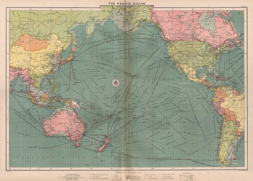 Associate Product Pacific Ocean sea chart. Ports lighthouses mail routes dockyards LARGE 1918 map