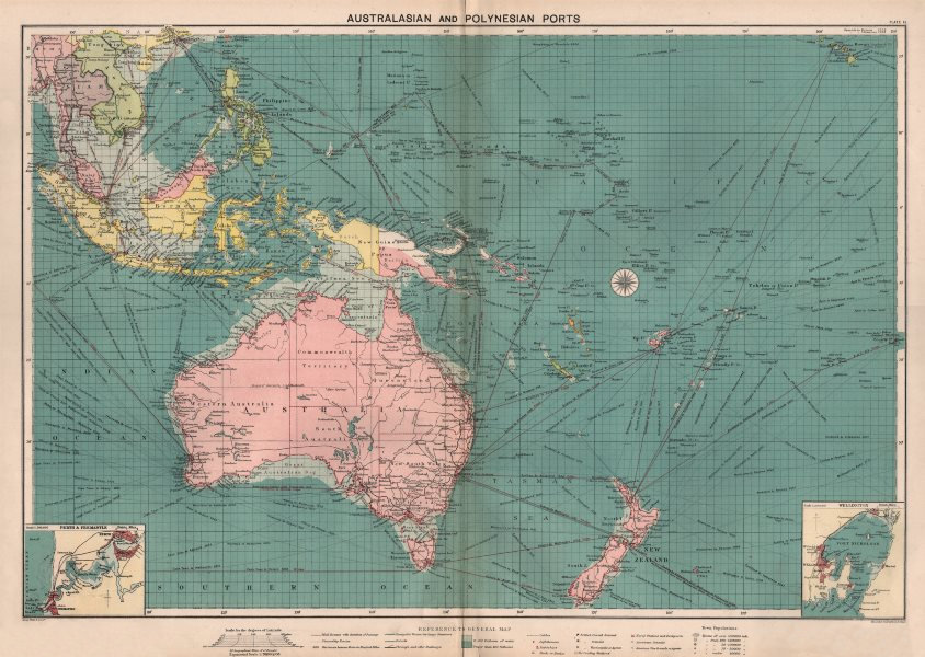 Associate Product Australasian Polynesian Ports sea chart. lighthouses mail routes LARGE 1918 map