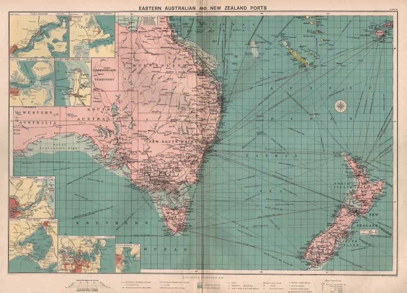 Associate Product Eastern Australia/New Zealand ports chart lighthouses mail route LARGE 1918 map