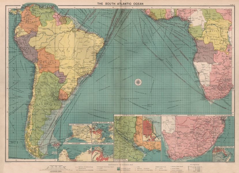 Associate Product South Atlantic Ocean sea chart. Ports lighthouses mail routes. LARGE 1918 map