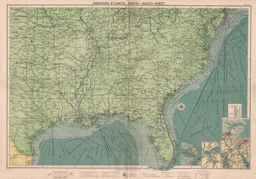 Associate Product US Atlantic & Gulf Coast Ports sea chart lighthouses mail routes LARGE 1918 map