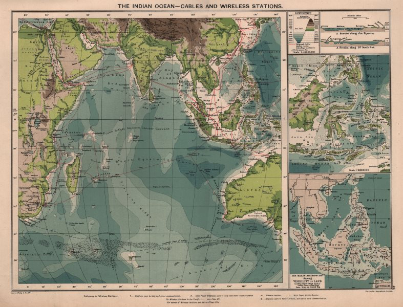 Associate Product Indian Ocean. Cables & Wireless Stations. Land visibility 1918 old antique map