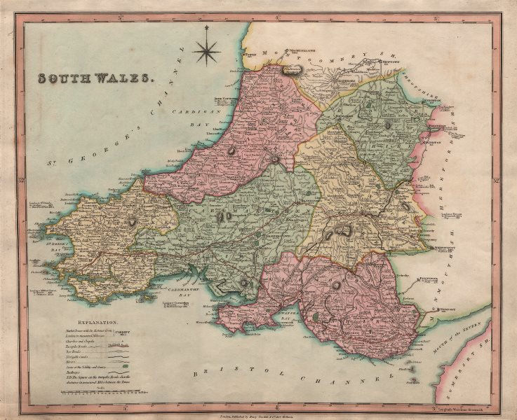 Associate Product Antique map of South Wales by Henry Teesdale 1831 old plan chart