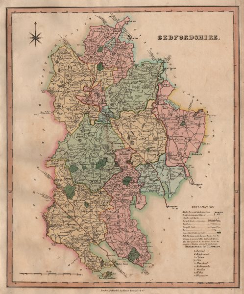 Associate Product Antique county map of Bedfordshire by Henry Teesdale 1831 old