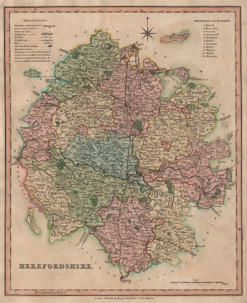 Associate Product Antique county map of Herefordshire by Henry Teesdale 1831 old